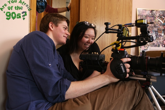 Director Kate Moran and DP Jake Horgan setting up a shot