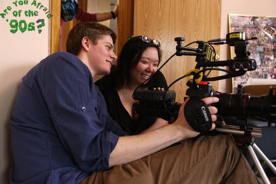Director Kate Moran and DP Jake Horgan setting up a shot