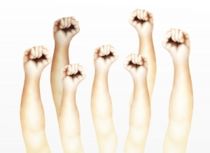 Here's a stock photo of defiant fists in the air and for all you know, they are all different races, genders, sexualities, religions, and sizes, so you can't get offended you're not included.