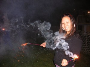Look, it's me 9 years ago with sparklers. Can you tell I'm terrified? Photo by Laura Pope.